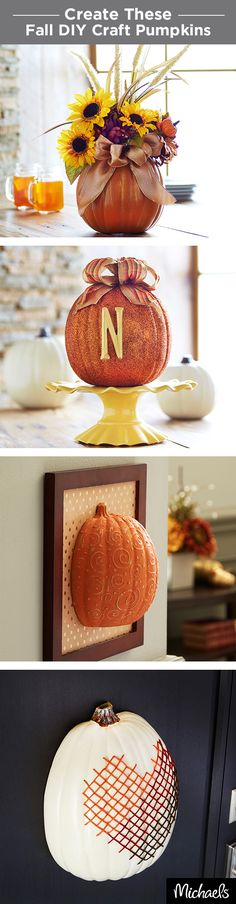 Make DIY Fall craft pumpkins that will last year after year. From a simple floral arrangement for your dining room to a cross-stitch décor piece, there are tons of ways to decorate craft pumpkins this Fall. Get everything you need to make these crafts at your local Michaels.