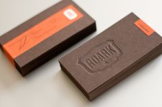 Tip: invest in a seriously creative business card that reflects your brand. // Roark - letterpress business cards