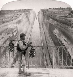 Man standing on bridge above canal in foregrd. An old dream realized at last, ship-canal through isthmus, E. Corinth, of Congress Prints and Photographs Division Washington, D. Corinth Greece, Corinth Canal, Fine Art Prints, Framed Prints, Canvas Prints, Art Reproductions, Photographic Prints, Historical Photos, Poster Size Prints