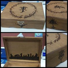LOTR Lord of the rings pyrography wood box Wood Burning Crafts, Wood Burning Patterns, Wood Burning Art, Wood Crafts, Diy And Crafts, Geek Crafts, Ring Crafts, Tolkien, Geek Gadgets