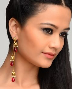 Tasseled Jhumki Earrings with Pink Stone Drops - Exclusively In