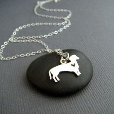 silver dachshund dog necklace. small sterling by limegreenmodern
