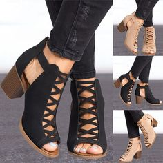 Buy 2 Color Women's Fashion 2018 New Arrival Summer Fashion Solid Color Hollow Out Open Toe Width High Heel Sandals Sexy Casual Dress Shoes Ankle Shoes at Wish - Shopping Made Fun Women Peep Toe Pumps Flock Leather Autumn Shoes with Zipper Pumps Item Pai Thick Heels Pumps, Peep Toe Pumps, Pumps Heels, Fall Shoes, Spring Shoes, Summer Shoes, High Heels Outfit, Mode Rock, Gladiator Sandals Heels