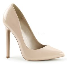 """SEXY-20, 5"""" Heel Pointed Toe Pump in Nude Patent"""