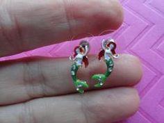 Mermaid enamel stud earring or pendant