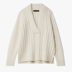 Proenza Schouler -Oversized Wool Cashmere V-Neck Knit Top Cable Knit Jumper, Ribbed Cardigan, Estilo Madison Beer, Knit Fashion, Piece Of Clothing, Sports Shirts, Proenza Schouler, Knitwear, Cashmere