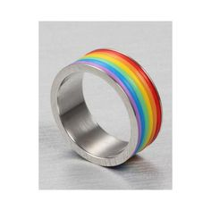 Item Description - Gender: Unisex - Material: Metal - Occasion: Party - Metals Type: Stainless Steel - Shapepattern: Geometric - Design: Rainbow striped ring Shipping & Handling This Item is eligible Pride Outfit, Gay Outfit, Accesorios Casual, Lgbt Community, Cute Jewelry, Jewelry Rings, Gay Pride, Bunt, Bracelets