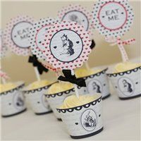 Party Ideas Mad Hatter Script Cupcake Wraps