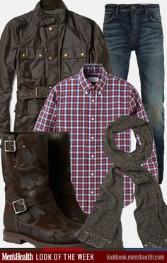 Tone down plaid with neutral accessories this fall. Scarf: Club Monaco Jacket: Bellstaff Via Mr Porter Boots: Jimmy Choo via Mr Porter Shirt: Jack Spade Jeans: All Saints