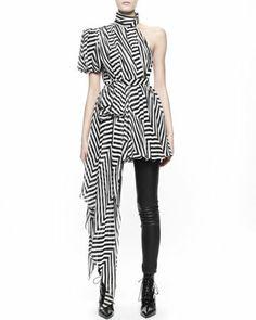 Asymmetric Chevron Chiffon Dress/Top by Saint Laurent at Bergdorf Goodman.