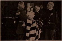 Still from the 1910 silent film The Flag Of His Country.  The film is lost.