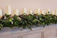 A Wilde Bunch traditional winter style mantlepiece design at Coombe Lodge, using Blue spruce and loads of candles for that warm glow. Lodge Wedding, Wedding Venues, Wedding Fireplace Decorations, Evergreen Wedding, Christmas Lodge, Blue Spruce, Wedding Season, Winter Style, Wedding Flowers