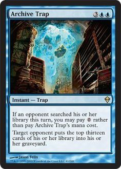 Magic: the Gathering - Archive Trap (41) - Zendikar by Wizards of the Coast. $2.29. A single individual card from the Magic: the Gathering (MTG) trading and collectible card game (TCG/CCG).. This is of Rare rarity.. From the Zendikar set.. Magic: the Gathering is a collectible card game created by Richard Garfield. In Magic, you play the role of a planeswalker who fights other planeswalkers for glory, knowledge, and conquest. Your deck of cards represents all the weapons...