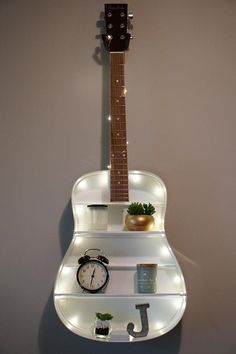 BillyeBuendia Guitar Shelf 005 A Healthier You By The Use Of Visualization diet Articl Cute Room Ideas, Cute Room Decor, Teen Room Decor, Diy Projects For Bedroom, Room Ideas Bedroom, Bedroom Decor, Guitar Shelf, Guitar Diy, Guitar Chords