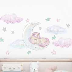 Unicorn Sleeping on the Moon Wall Decals Removable Wallpaper Stickers - Default Title