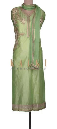 Buy Online from the link below. We ship worldwide (Free Shipping over US$100)  SKU -303384. PRODUCT LINK - http://www.kalkifashion.com/green-unstitched-suit-adorn-in-thread-embroidery-only-on-kalki.html