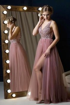 V-Neck Dusty Pink Long Prom Dress with Beading Top,Sexy Party Dress,Formal Dress,Cheap Prom Prom Dresses Long Pink, Cheap Formal Dresses, Tulle Prom Dress, Mermaid Prom Dresses, Formal Evening Dresses, Elegant Dresses, Pink Dresses, Maxi Dresses, Dress Skirt