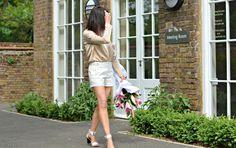 Winser London shorts & silk shirt | Whistles white 2 part sandals