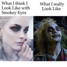 Expectation vs Reality.  Tag a makeup lover! #Smokeyeye #Eyes #Eyeshadow #Shadow #Black #Funny #Makeup #Mua #Muah #Makeupartist #Artist #Suavecitabeauty #Beauty #Cosmetics #Getitrucca!