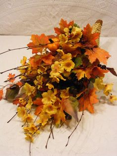 Autumn Leaves Cornucopia Centerpiece Fall by Dunewooddesigns, $27.50
