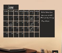 Large Chalkboard calendar vinyl wall decal sticker Monthly Blackboard with memo area. $54.00, via Etsy.