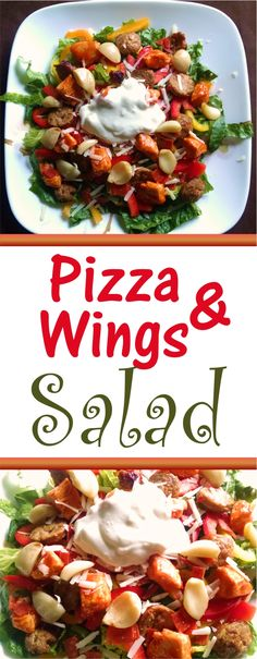 This pizza and wings salad is one of my favorite healthy recipes. It is low carb and tastes just like pizza and wings. We love it for family night, it has replaced our pizza recipes. via @jenniferspears9
