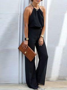e5d2b9d9e9e Black Halter Tie Backless Jumpsuit EmmaCloth-Women Fast Fashion Online
