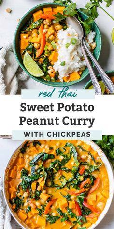 Indian Food Recipes, Asian Recipes, Whole Food Recipes, Cooking Recipes, Healthy Recipes, Yummy Vegan Meals, Turkish Recipes, Recipes Dinner, Peanut Curry
