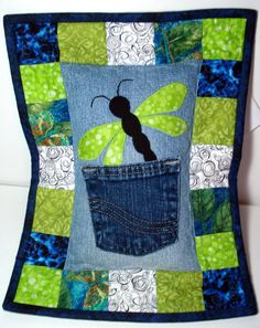 Dragonfly Recycled Denim Tooth Fairy Pillow