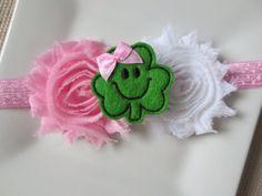 st. patrick's day baby headband shamrock by hartsandflowers, $6.95