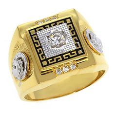 Stunning Cubic Zirconia High Shine Gold Plated Sterling Silver Mens Ring S11 -- Check out the image by visiting the link.