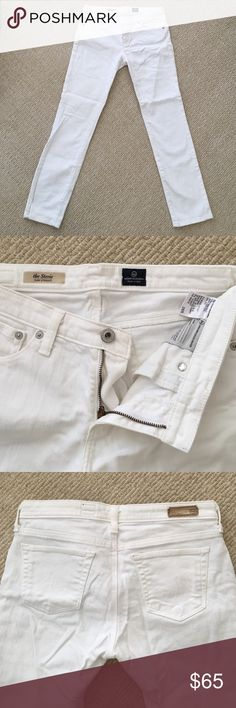 "AG """"The Stevie"" White Straight Leg Jeans Nice and stretchy white slim straight leg jeans. Only worn once. Size 28R. 98% Cotton, 2% EA. AG Adriano Goldschmied Jeans Straight Leg"