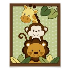 So cute!  Little monkey wall art for baby boy's nursery