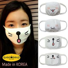 Apink Cute Anime Kaomoji Emoticon Mouth Muffle Anti Dust Korea Cotton face mask - New ideas Diy Mask, Diy Face Mask, Emoticon, Mouth Mask Fashion, Crochet Mask, Pocket Pattern, Cute Faces, Sewing Projects, Korea