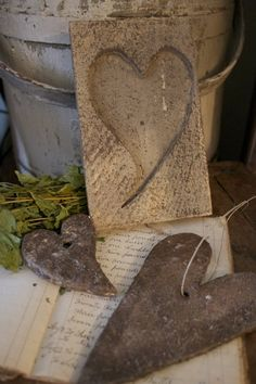 Old Chippy Bucket & Wooden Heart Mold...rustic hearts.