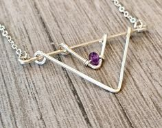 Amethyst Necklace - Raw Crystal Necklace - Triangle Necklace- Geometric Necklace-#jewelry #etsy #fashion #shopping #gemstone jewelry #necklace