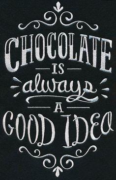 Chocolate Is Always A Good Idea Tote Bag- Embroidered Tote-Canvas Tote Bag - Kreidetafel - Chalk Art Chalkboard Lettering, Chalkboard Designs, Chalkboard Drawings, Chalkboard Quotes, Chalkboard Pictures, Chalkboard Ideas, Chocolate Quotes, Chocolate Humor, Chocolate Coffee