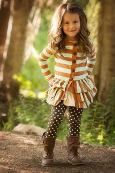 c3577fa46814e Burnt orange & cream striped ruffle cardigan, brown dot leggings, autumn  toddler My Little