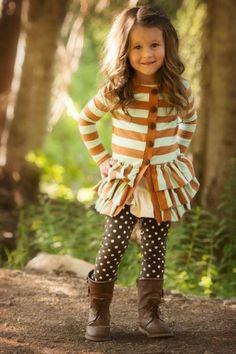 Burnt orange & cream striped ruffle cardigan, brown dot leggings, autumn toddler
