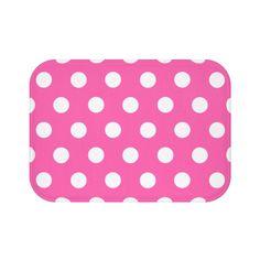 HOT PINK POLKA Dots Bath Mat Girls Bathroom Decor
