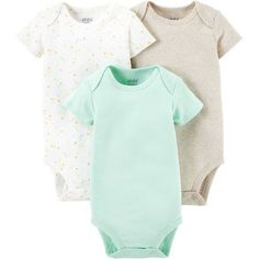 These 3pk basic bodysuits are perfect wear alone or layer for warmth. The sweet details and soft colors are perfect for boys or girls! Lap shoulders and snaps allow for easy over-head dressing and diaper changing.