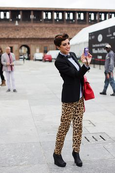 Girl with bow tie in Milan