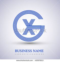Letter GX or XG linked logo design circle G shape. Elegant blue colored letter symbol. Vector logo design template elements for company identity. - stock vector