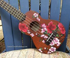 YOUR Ukulele Handpainted with Hibiscus & by LemonTreeWorkshop