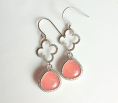 Silver Clover Earrings with Coral Jade Stone by TheCoralDahlia, $20.00
