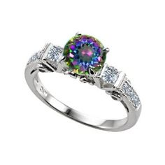cttw Original Star K(tm) Engagement Ring With 6 Genuine Diamonds And Genuine Round Mystic Topaz in Sterling Silver Size 8 Unusual Engagement Rings, 3 Stone Engagement Rings, Alexandrite Engagement Ring, Alexandrite Ring, Topaz Ring, Lab Created Diamond Rings, Wedding Jewelry, Wedding Rings, Wedding Bells
