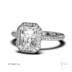Bez Ambar Frame of Fire™ #engagementring with white radiant #diamond center with channel set Blaze® frame and Blaze® shank