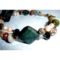 CHUNKY TWO Strand Beaded BRACELET, Chunky Multi Strand Bracelet, Handcrafted Assorted Gemstones Pearls, Tibetan Silver Clasp ($17) found on Polyvore featuring women's fashion, jewelry and bracelets