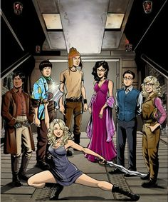 Big Bang Theory cast reimagined as Firefly crew ... although I honestly don't see Amy fitting in anywhere in here, especially not as Inara, LOL