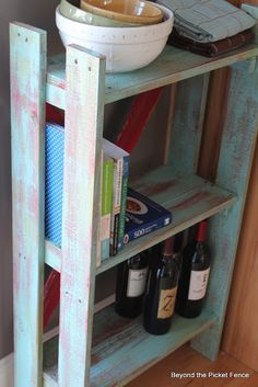 Beyond The Picket Fence: Pallet Bookshelf to store my organizing cubes in my room & match my vintage mirror!